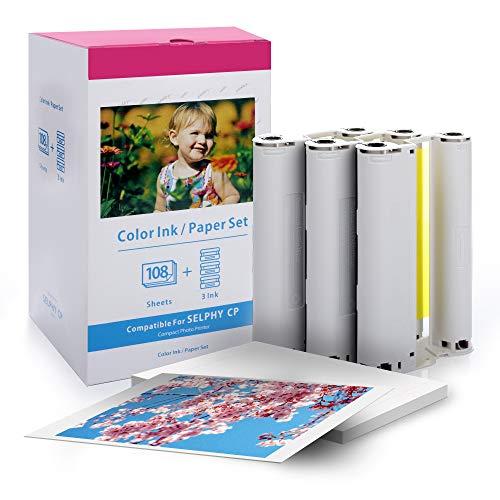 Ersatz für Canon Selphy CP CP1300 CP1200 CP910 CP800 Fotopapier, Fotoset KP-108IN kompatibel für Canon Selphy Fotodrucker, 108 Blatt Foto Papier (100 x 148 mm) mit 3 Farbkartusche