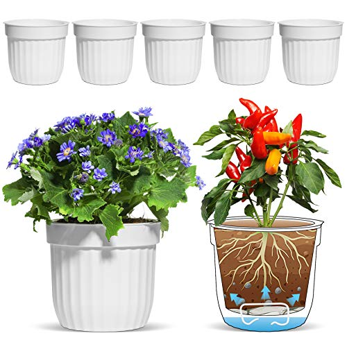 T4U Φ18CM Selbstwässernder Blumentopf Kräutertopf Weiß 6er-Set, Selbstbewässerung Wasserspeicher Pflanzgefäß Übertopf für Innen- und Außenbereich
