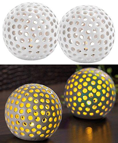 Lunartec Leuchtkugel Keramik: Kabellose LED-Dekoleuchten aus Keramik im 2er-Set (Keramikkugeln mit Licht)