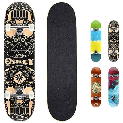 Osprey Absolute Anfänger Double Kick Trick Skateboard, 78,7 x 20,3 cm Ahorndeck