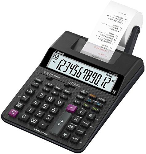 CASIO Druckender Tischrechner HR-150RCE, 12-stellig, 2-Farbdruck, Nachträglicher Druck, Gesamtsummen-Speicher