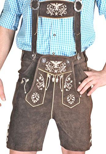 Trachten Herren Lederhose Kurz Braun leather trousers Smartphone Tasche KUHA1 (44)