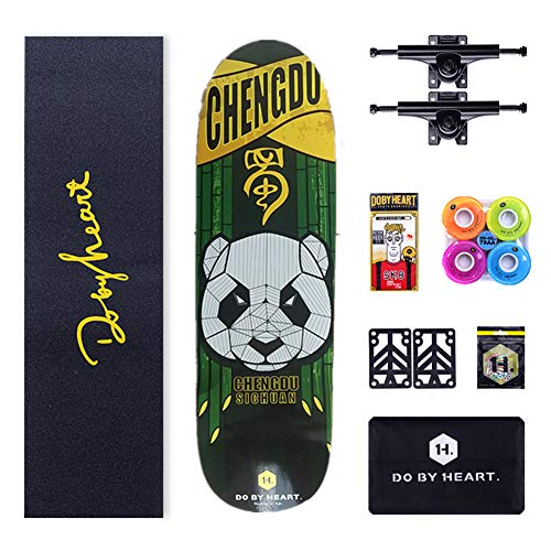 NENGGE Erwachsene Cruiser Skateboard, Professionell Skateboards Komplettboard,6-lagiges Hard Rock Ahorn Deck 4 Rädern Skateboard,Panda