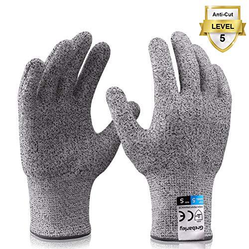 Grebarley Schnittschutzhandschuhe,Arbeitshandschuhe,Küchen Handschuhe,Level 5 Schutz,Lebensmittelecht,EN388 Zertifiziert,Gestrickt Handschuhe für Gartenbau/Baustelle/Küche,Grau 1Paar (S)