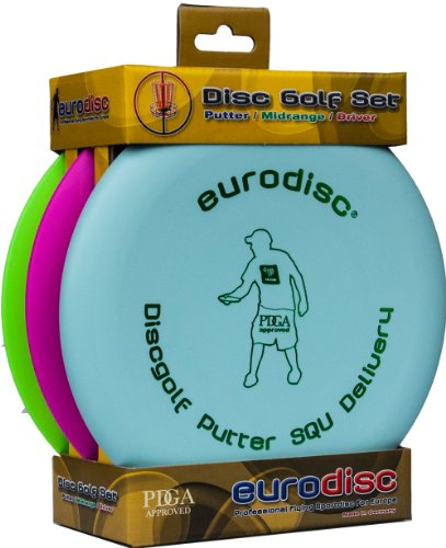 Eurodisc Discgolf Einsteiger Starter Set SQU Putter Midrange Driver PDGA Approved Mint