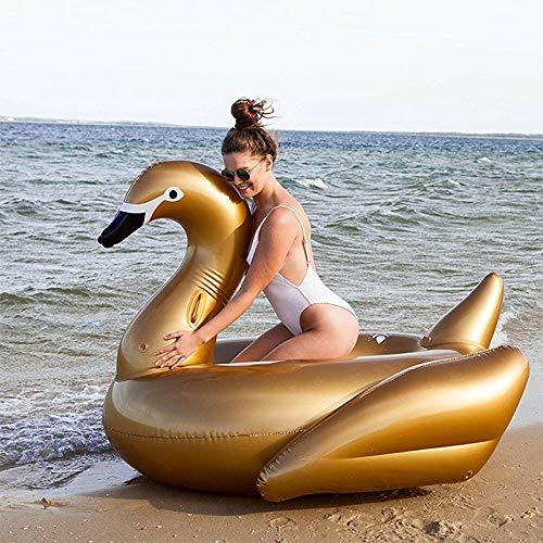 Warmwin Erwachsene 130cm riesigen goldenen Schwan Schwimmbad schwimmende Partei aufblasbare Spielzeug Reiten Schwimmring Luftmatratze Strand Lounge Stuhl Boia