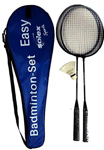 Badminton-Set Easy für Zwei Spieler Badmintonschläger gehärteter Stahl 6,9mm Nylon-Bespannung Tragetasche Nylon-Federball
