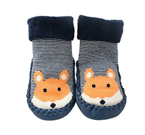 LCH Baby Jungen Mädchen Winter Pantoffel Socken Rutschfeste Blau Gestreift Fuchs 3-24 Monate - Blau, 12-24 Months