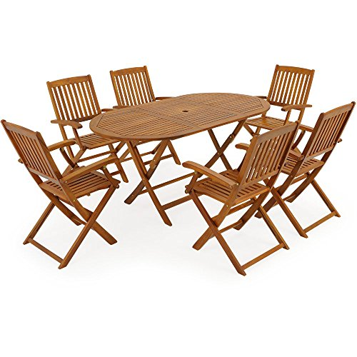 Deuba Sitzgruppe Boston 6+1 FSC®-zertifiziertes Akazienholz 7-TLG Tisch klappbar Sitzgarnitur Holz Gartenmöbel Garten Set