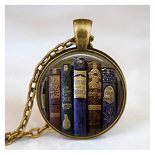 ZAOPP Mode-Kette Glaskuppel Vintage-Bibliothek und Bücher Anhänger Halskette for Schüler Lehrer und Bibliothekare Halskette Zubehör (Metal Color : 13)