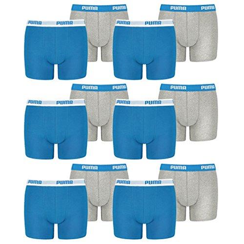 PUMA 12 er Pack Boxer Boxershorts Jungen Kinder Unterhose Unterwäsche, Farbe:417 - Blue/Grey, Bekleidung:140
