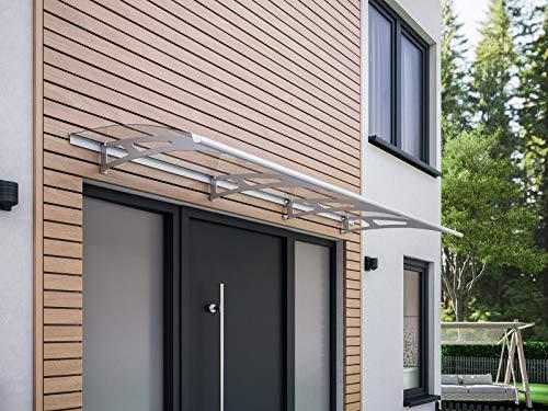 Vordach Haustür Überdachung 240x90 cm Polycarbonat durchgehend transparent Edelstahl rostfrei Pultvordach Style Plus Schulte