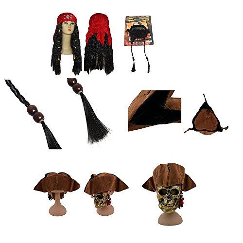 thematys Fluch der Karibik Jack Sparrow Piraten-Hut + Bart + Perücke mit rotem Bandana - Piraten-Kostüm für Erwachsene & Kinder - perfekt für Fasching, Karneval & Halloween - Einheitsgröße