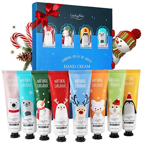 Handcremes Set, Luckyfine 8 Pcs Parfümierte Hand Cream feuchtigkeitsspendend für raue, strapazierte, rissige Hände, Feuchtigkeitscreme Pflegecreme, Unisex, Geburtstags Geschenk