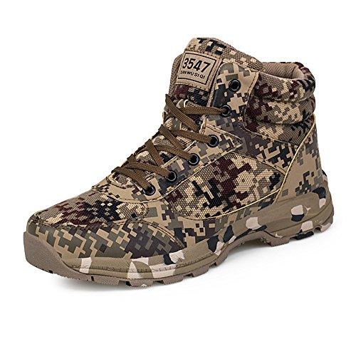 PAMRAY Herren Damen Camouflage Schuhe Taktisch Outdoor Sports Laufschuhe Safety Warm Stiefel Hoch Top Militär Camping Wandern45