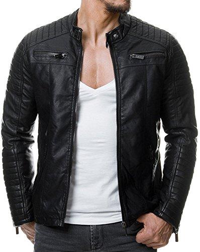 Redbridge Herren Jacke Übergangsjacke Biker Kunstleder Echtleder Baumwolle mit gesteppten Bereichen (XL, Schwarz - Kunstleder)