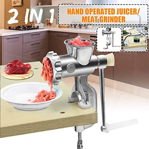 SISHUINIANHUA 2 in 1 Haushalts-Handbetriebene Entsafter Lebensmittel Fleischwolf manuelle Saftpresse Press Extractor Fleisch Obst Gemüse Quecke