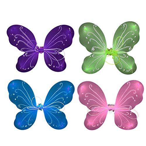 Toyvian Schmetterling Flügel Kinder Mädchen Feenflügel Schmetterling Kostüm Fee Kostüm Parrty Kostüm 4 Stück (Rosa, Grün, Lila, Blau)