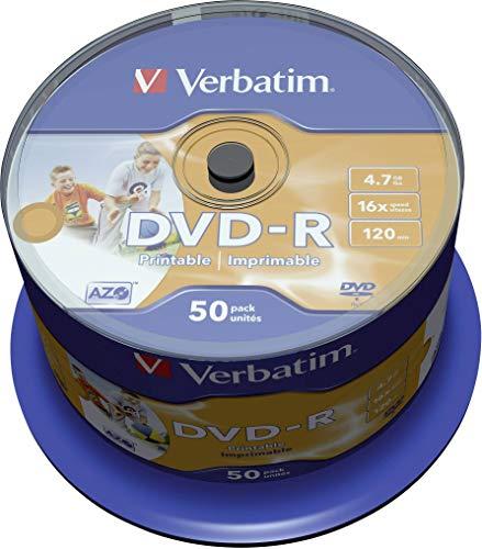 Verbatim DVD-R AZO 4,7GB  - 16-fache Brenngeschwindigkeit - Bedruckbar - 50er Spindel - Silber