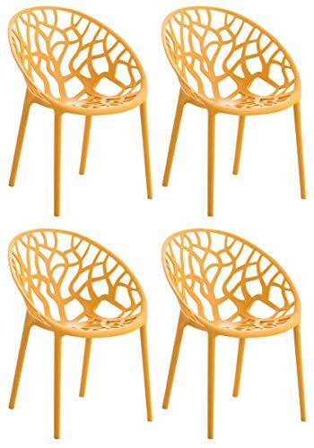 CLP 4er-Set Gartenstuhl Hope Aus Kunststoff I 4 x Wetterbeständiger Stapelstuhl Mit max 150 KG Belastbarkeit, Farbe:orange