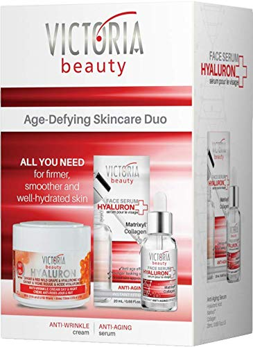 Victoria Beauty - Hyaluronsäure mit Anti Aging Wirkung, Geschenkset für Frauen, Geschenkbox für Damen mit Hyaluron Serum mit Kollagen und Hyaluron Creme mit Retinol, Anti Falten Gesichtspflege Set