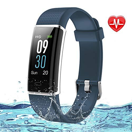 Lintelek Fitness Armband Wasserdicht IP68 Fitness Tracker Smartwatch mit Pulsmesser 0,96 Zoll Farbdisplay Fitness Uhr Armband Uhr Aktivitätstracker GPS Schrittzähler Uhr smart Watch