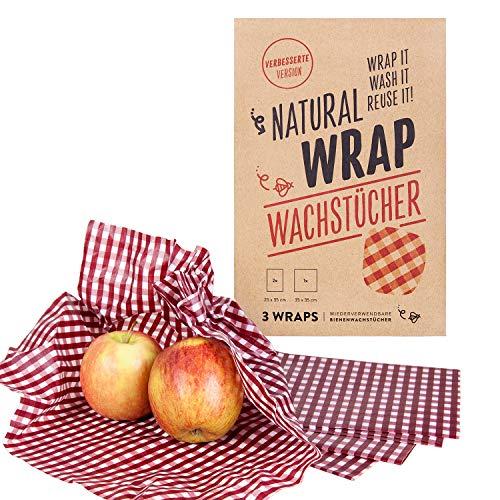 Natural Wrap Wachspapier 3er Set – Bienenwachstücher Ersetzt Alufolie Und Frischhaltefolie Enthält Zwei Tücher L 25 x 35 cm Und Ein Tuch XL 35 x 35 cm - Kariert/Rot - Mit Bienenwachs (Nicht Vegan)