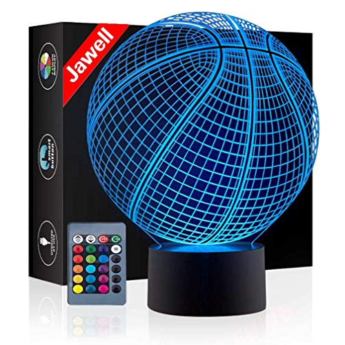 Christmas Gift Basketball 3D Illusion Night Light Beside Table Lamp, Jawell 16 Colors Auto Changing Touch Switch Desk Decoration Birthday Present with Remote Control