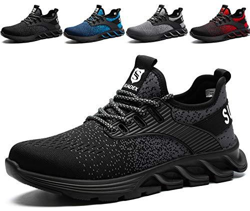 SUADEX Sicherheitsschuhe Herren Arbeitsschuhe mit Stahlkappe S3 Leicht Atmungsaktiv Sportlich Arbeits Schuhe (Schwarz,42EU)