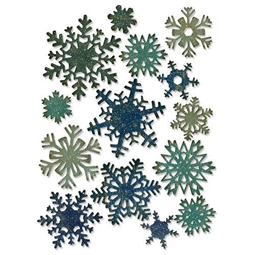Sizzix Mini Papier Schneeflocken von Tim Holtz Thinlits Stanzen Set, 14 in Packung, Stahl, mehrfarbig 19.1 x 14.4 x 0.4 cm