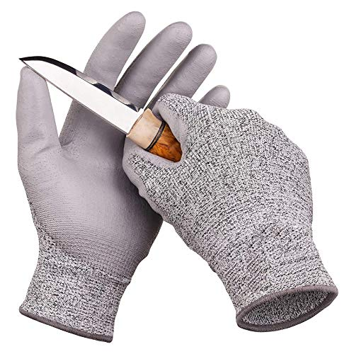 Guyarns Schnittfeste Handschuhe Lebensmittelschutzstufe 5 und EN388-Zertifizierte Polyurethanbeschichtete Arbeitshandschuhe Maschinenwaschbar Schnitt- und Stichfest (S)