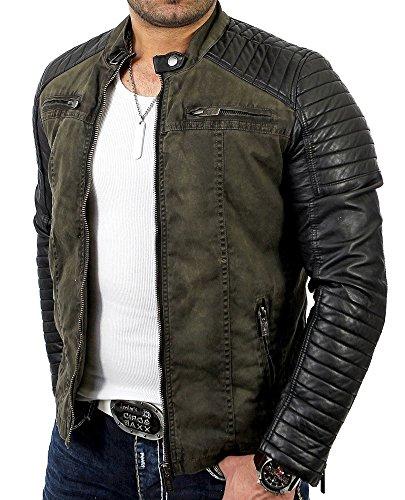 Redbridge Red Bridge Jacke Herren Biker Kunstleder Lederjacke Jacket mit gesteppten Bereichen (M, Khaki)
