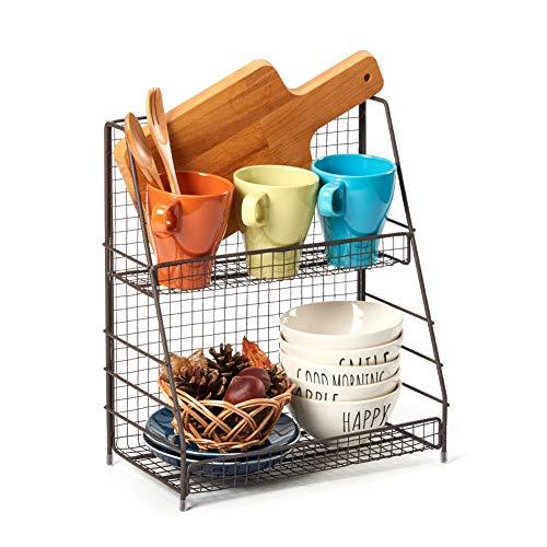EZOWare Gewürzregal mit 2 Etagen, Drahtkorb Abstellfläche für Arbeitsplatte, Küche, Badezimmer - Rustikales Braun