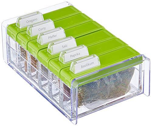 Emsa 508458 Gewürz-Kartei, 6 Gewürze, 0.075 Liter, Grün/Transparent, Spice Box