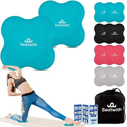 Yoga-Knie-Pad 2er Pack Kniekissen mit Transportbeutel+Trainingsanleitung PDF Maximale Entlastung und Unterstützung der Knie Handgelenke und Ellbogen Knieschoner 20 x 20 cm Fitness Pilates BLAU