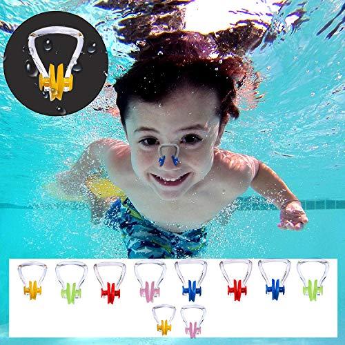 BEZZEE PRO Schwimmen Nase Clip (10 Stück) - Nasenklammer aus Silikon, Nasenschutz für Schwimmtraining, Erwachsene und Kinder - Perfektes Set zum Training, Wettkämpfe & Anfänger (5 Farben)