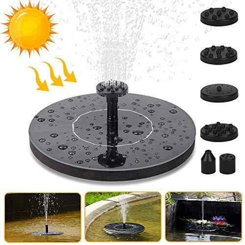 Molbory Solar Springbrunnen,Solar Wasserpumpe, Solar Teichpumpe, Solar Schwimmender Fontäne Pumpe mit 6 Fontänenstile für Garten, Vogel-Bad,Teich,Fisch-Behälter