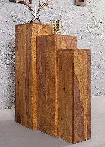 DuNord Design Säule Dekosäule Blumen Podest Jakarta 3er Palisander Sheesham Massiv Holz Honey