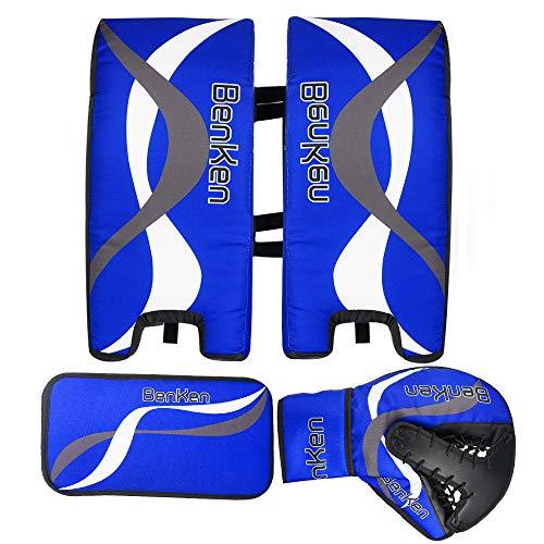 BenKen Sport Eishockey Torwart Set für Kinder & Teenager | Hockey Torwart Fanghand Handschuhe | Feldhockey Schienbeinschoner | Hockey Blocker (blau, 23
