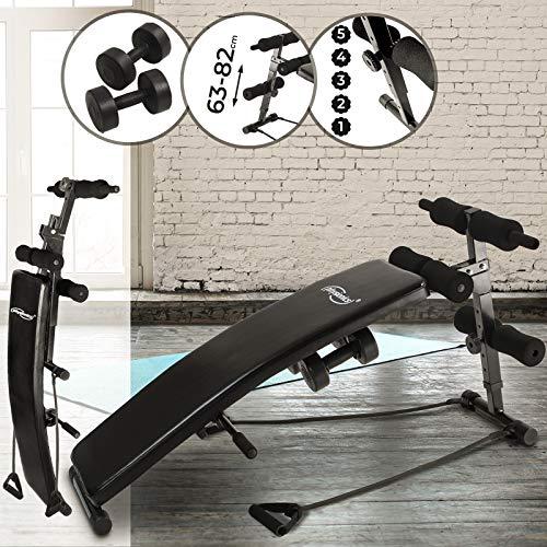 Physionics Sit-Up-Bank mit Beinfixierung - mit 2 Hanteln, 2 Seilen, belastbar bis 100 kg, Schwarz - Hantelbank, Bauchtrainer, Rückentrainer, Trainingsbank