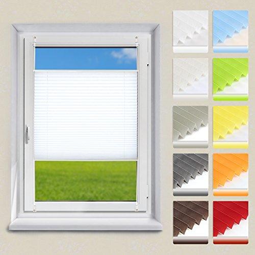 OUBO Plissee Klemmfix Faltrollo ohne Bohren Jalousie mit Klemmträger (Weiß, B55cm x H120cm) Blickdicht Sonnenschutz und Sichtschutz Rollo für Fenster & Tür