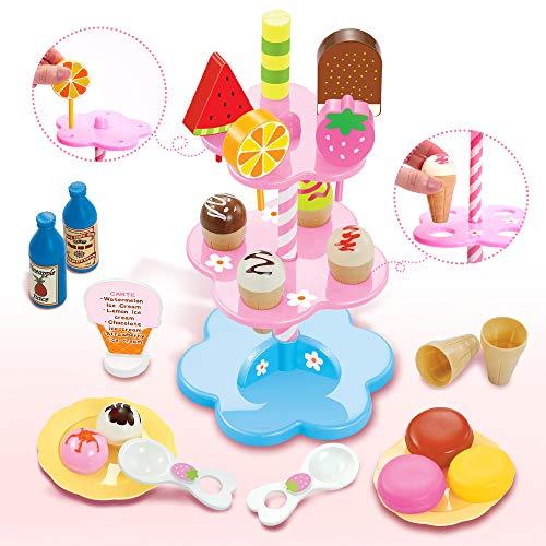 Buyger Eiscreme Spielzeug Eisständer EIS-Party Lebensmittel Küchenspielzeug Rollenspiele für Kinder Jungen Mädchen