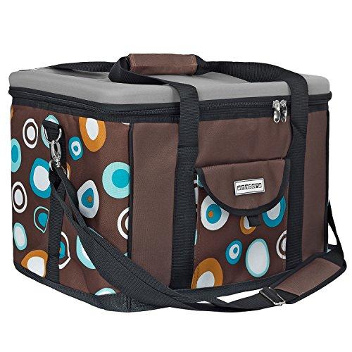 anndora Kühltasche XL braun hellblau 40 Liter - Kühlbox Isoliertasche Picknicktasche