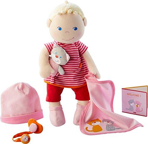 HABA - 303724 - Babypuppe Jule   Stoffpuppe zum Kuscheln und Spielen mit Zubehör   Puppe mit Mütze, Schnuller, Schnullerkette, Kuscheldecke, Kuscheltier und Geburtspass   Ab 1 Jahr