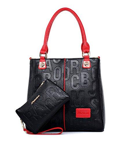 DEERWORD Damen Handtaschen Schultertaschen Umhängetasche Tornistertaschen Top-Griff Tragetasche Leder Schwarz