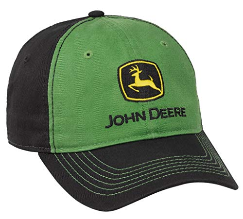 John Deere Solid Backed Hat with Gray Logo, Green, Green/Black/Grey, One Size
