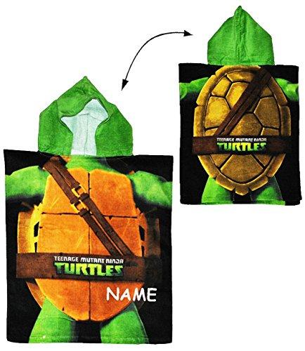 alles-meine.de GmbH Teenage Mutant Ninja Turtles  - Badeponcho - incl. Name - 50 cm * 115 cm - 4 bis 8 Jahre Poncho - mit Kapuze - Schildkröten Teenage Mutant Ninja Turtle Jun..