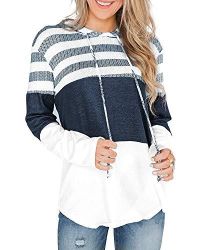 ABRAVO Damen Kapuzenpullover Langarm Pullover Pulli Freizeit Sport Hoodie Kapuzenpulli Sweatshirt Sweater Top Oberteie (2XL, A Gestreift-Weiß)