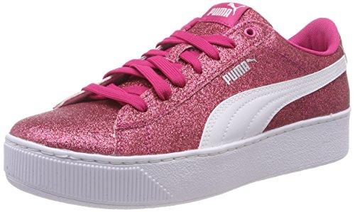 PUMA Vikky Platform Glitz JR Sneaker, Pink (Beetroot Purple White Silver 01), 38.5 EU