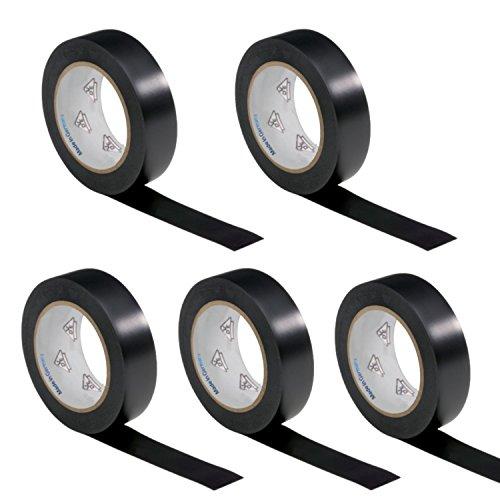 AUPROTEC 5 Rollen VDE Isolierband Isoband Elektriker Klebeband PVC 15mm x 10m DIN EN 60454-3-1 Farbe: schwarz